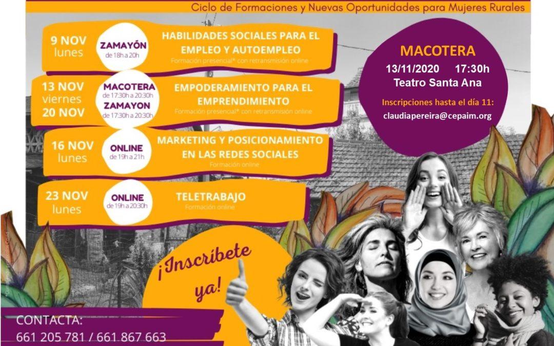 Ciclo de Formaciones y Nuevas Oportunidades para Mujeres Rurales