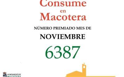 Número premiado mes de noviembre 'Consume en Macotera'